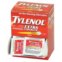 Tylenol Extra Strength Acetaminophen 50 Individually wrapped packets of medication containing two tablets, 500mg.